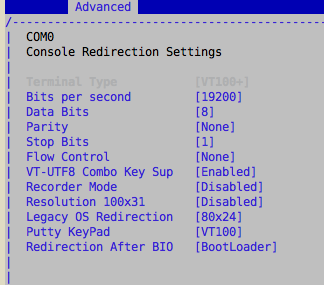 Console Redirection BIOS