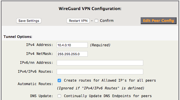 WireGuard VPN Tunnel Options